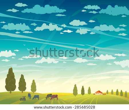 Rural summer landscape - herd of cows and green field with trees on a cloudy sky background. Vector nature illustration. - stock vector