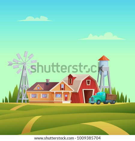 Rural summer landscape with a red shed farm, house, truck, water tower and windmill