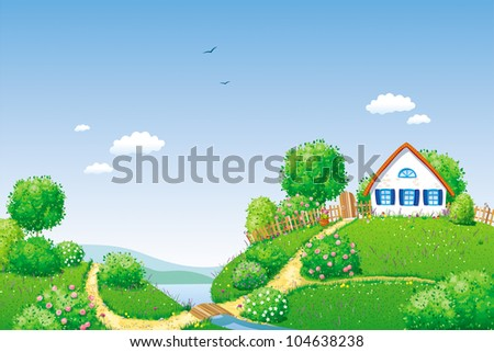 Rural summer landscape with small house, river, trees and bushes - stock vector