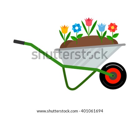 Rural wheelbarrow with flowers for the flower beds. The flat-style farm. Vector illustration.