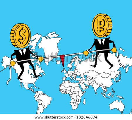 Russia and America pull the rope on world map - stock vector