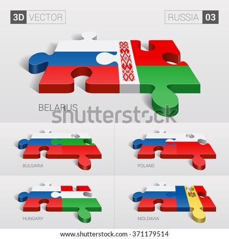 Russia and Belarus, Bulgaria, Poland, Hungary, Moldavia Flag. 3d vector puzzle. Set 03. - stock vector