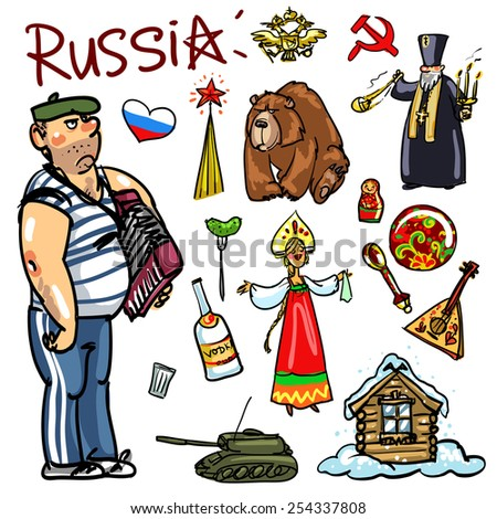 Russia cartoon collection - stock vector