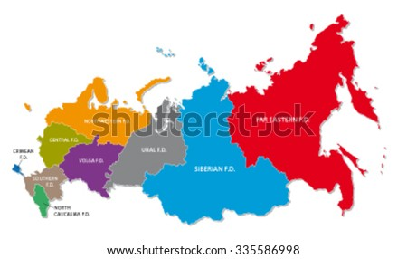 russia colorful federal district map
