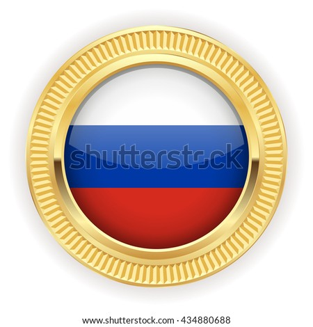 Russia flag buttons with silver border on white background