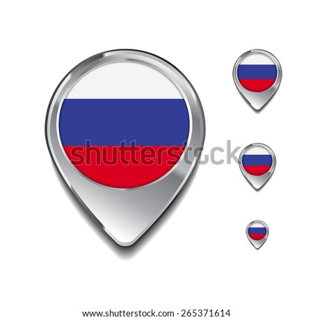 Russia flag map pointer. 3d Map Pointer with flag glossy button style on gray background - stock vector