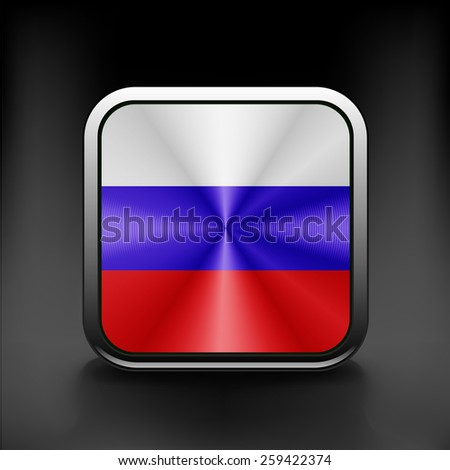 Russia flag national travel icon country symbol button. - stock vector
