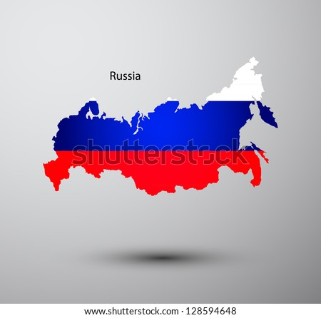 Russia flag on map of country - stock vector