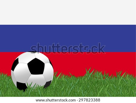 Russia flag with soccer ball on the yard - stock vector