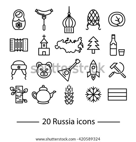 Russia icons. Thin line icons. Russia in pictures. Typicial Russia things.  - stock vector