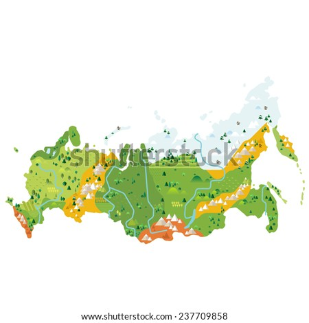 Russia info graphic map - stock vector
