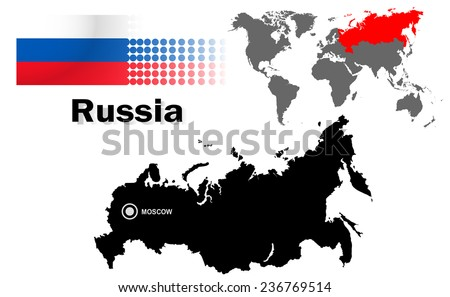 Russia info graphic with flag , location in world map, Map and the capital ,Canberra, location.(EPS10 Separate part by part) - stock vector
