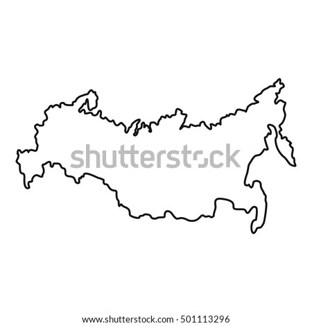 Russia Map Icon Outline Illustration Russia Stock Vector - Russia on map