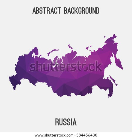Russia map in geometric polygonal style.Abstract tessellation,modern design background. Vector illustration EPS8 - stock vector