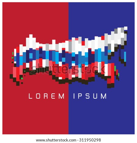 Russia map vector background white red blue