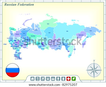 Russia Map with Flag Buttons and Assistance & Activates Icons Original Illustration