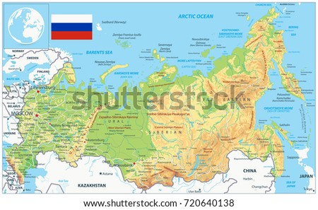 Russia Map Flag Highly Detailed Vector Stock Vector - Detailed map of russia