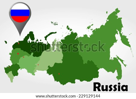 Russia political map with green shades and map pointer. - stock vector