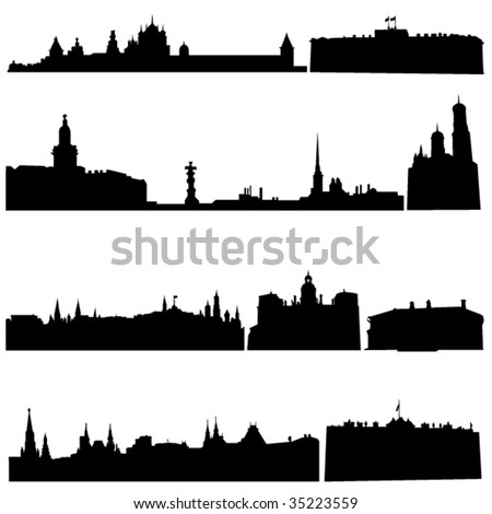 Russia's famous historical buildings and modern architecture. - stock vector