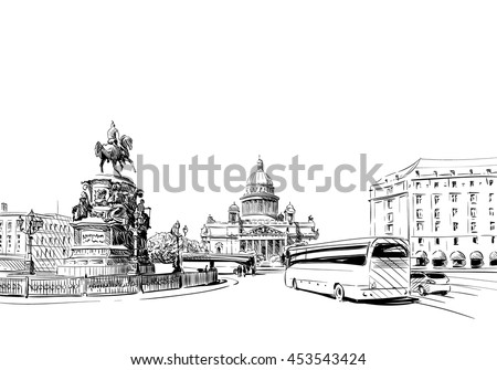 Russia. Saint Petersburg. Saint Isaac's Cathedral. Equestrian monument to Nicholas I hand drawn sketch. City vector illustration