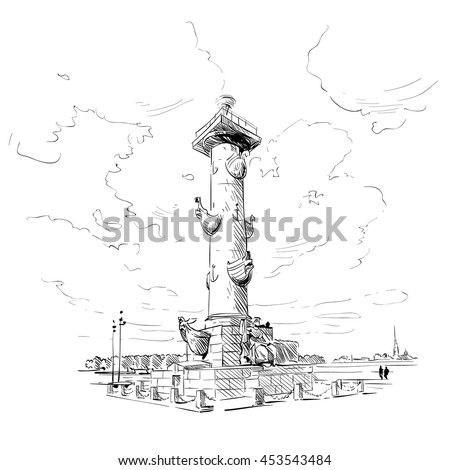 Russia. Saint Petersburg. Vasilevsky island  hand drawn sketch. City vector illustration