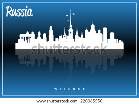 Russia, skyline silhouette vector design on parliament blue and black background.  - stock vector