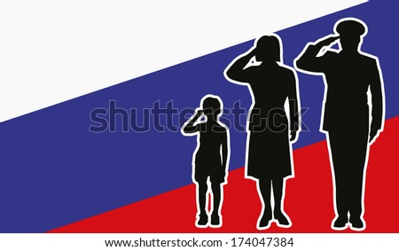 Russia soldier family salute - stock vector