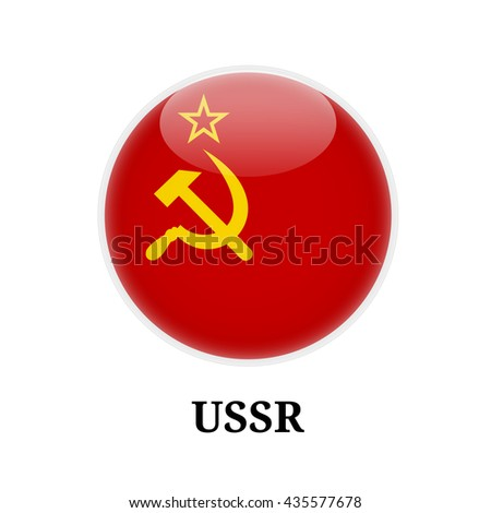 Russia / Soviet Flag on Button / Symbol - stock vector