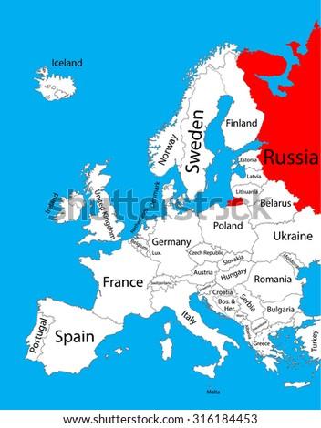 Russia Vector Map Europe Vector Map Stock Vector 316184453 ...