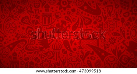 Russia 2018 World Cup inspired vector background illustration. Hand drawn FIFA World Cup Russia wallpaper image. Football / soccer world championship. Romantic, red pattern background illustration.