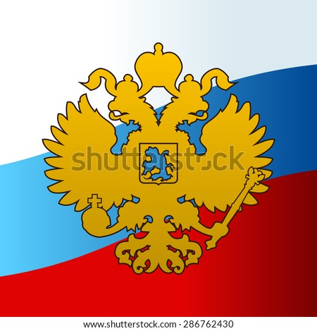 Russian coat arms double-headed eagle emblem. Symbol of empire Russia flag - stock vector