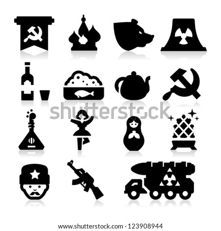 Russian Culture Icons - stock vector