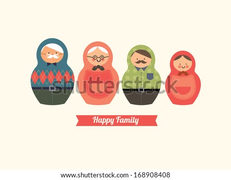 russian doll happy family vector/illustration