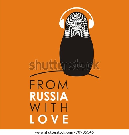 "Russian doll - matryoshka # 11-a. Drawing on the basis of the stylized image the nested dolls entering into a series ""From Russia with love""."