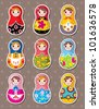 Russian dolls stickers - stock vector
