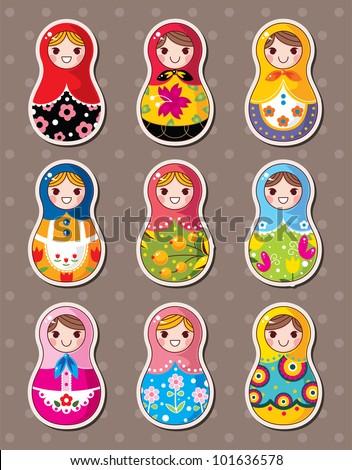 Russian dolls stickers - stock vector