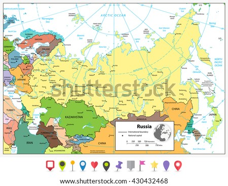 Russian Federation detailed political map and flat map pointers with separated layers. - stock vector