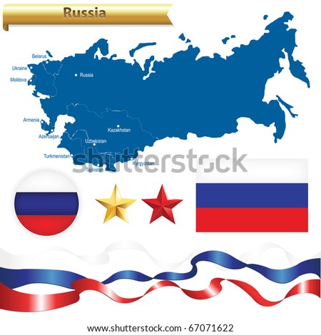 Russian Federation Set, Russia Map (CIS-Commonwealth of Independent States) With Flag, Badge And Stars, Isolated On White Background, Vector Illustration - stock vector