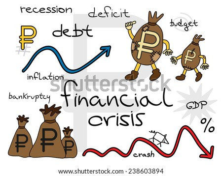Russian financial crisis. Ruble in patched money bags and downward graphs. Easy editable vector illustration. - stock vector