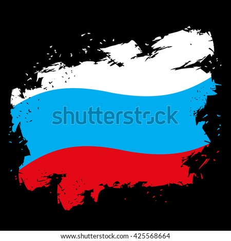 Russian flag grunge style on black background. Brush strokes and ink splatter. National symbol of Russian State - stock vector