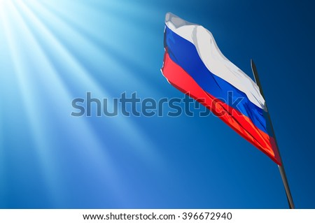 Russian flag on blue sky background with sunlight - stock vector