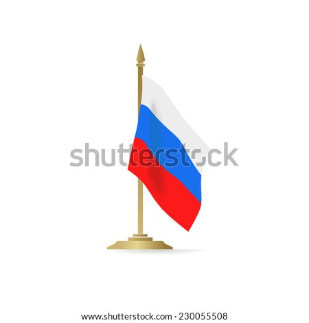 Russian flag standing isolated on white background - stock vector