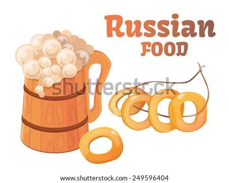 Russian food, beer, bagels - stock vector