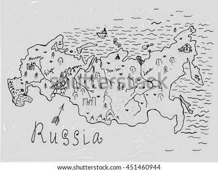 Russian hand drawn map. Editable vector illustration. Geographical concept in plain funny style on a textured background. Ink drawing concept. - stock vector