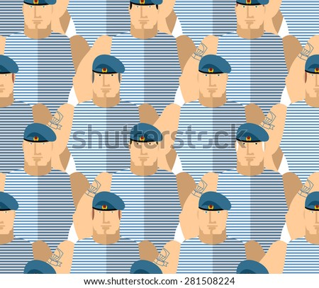 Russian military VDV . Strong Soldiers in blue berets and striped vests. The AIRBORNE TROOPS. Seamless pattern military people. Vector background.  - stock vector