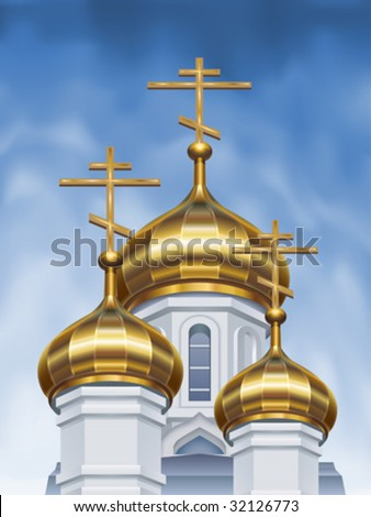Russian orthodox church cupolas (vector image)