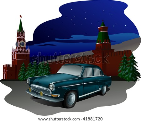 Russian Retro Volga Car Parked on Red Square with Kremlin Behind at Night