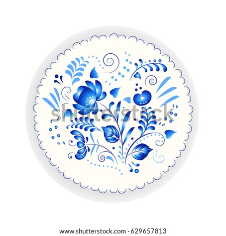 Russian style porcelain plate with traditional blue Gzhel floral pattern.  sc 1 st  Shutterstock : traditional russian tableware - pezcame.com