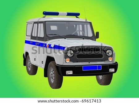 Russian SUV for the police to the beacon, siren and a distinctive stripe