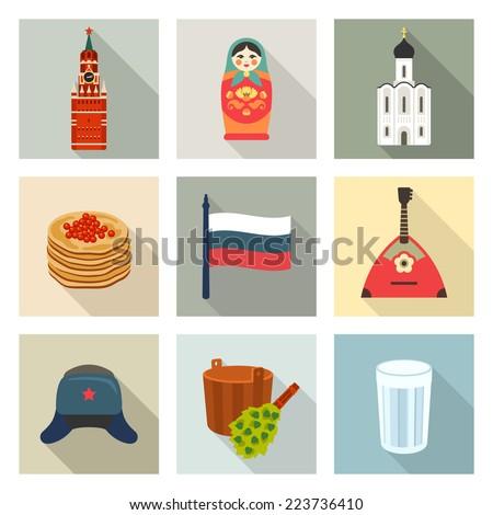 Russian theme icon set - stock vector